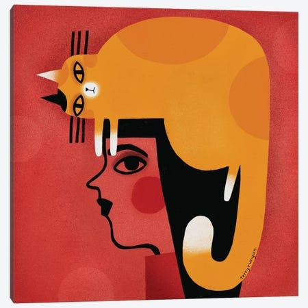 Yellow Cat Hat Canvas Print #TRU92} by Terry Runyan Canvas Art Print