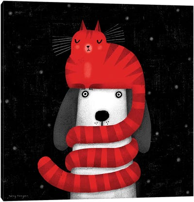 Cat Hat Scarf Canvas Art Print