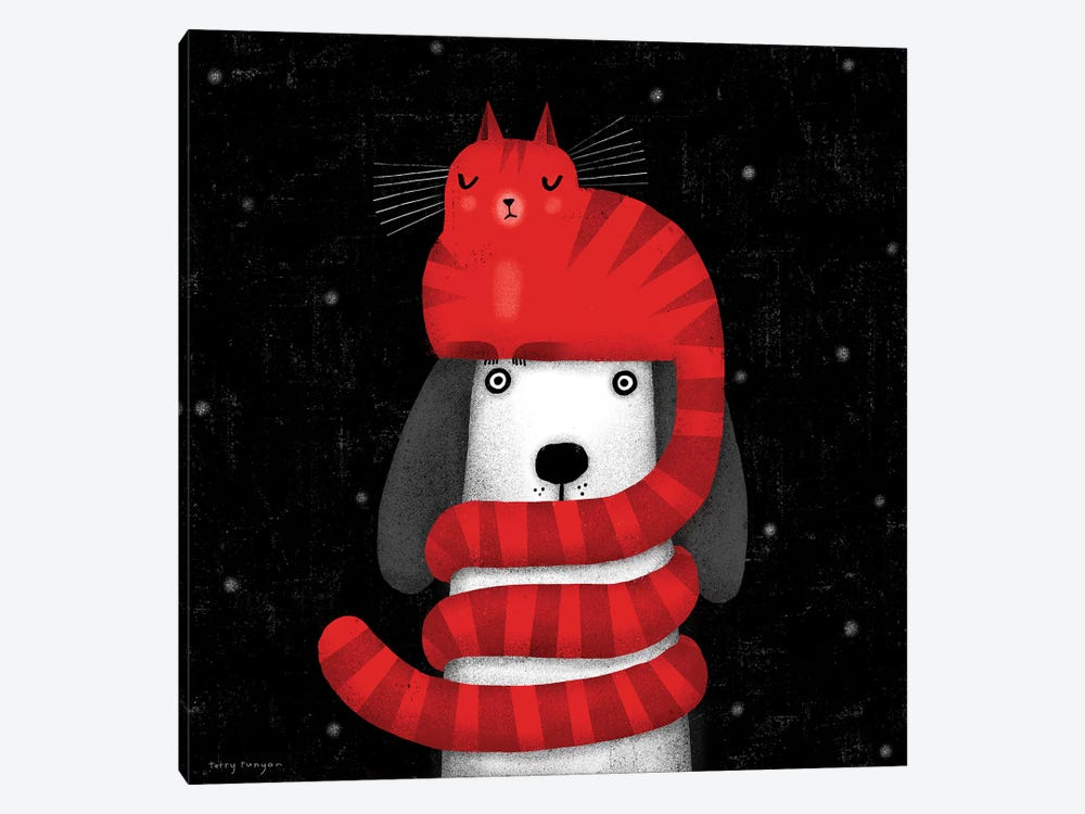 Cat Hat Scarf by Terry Runyan 1-piece Canvas Art