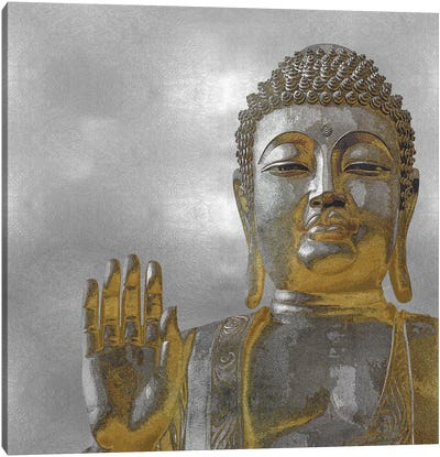 Silver And Gold Buddha Canvas Print #TRY4