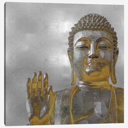 Silver And Gold Buddha Canvas Print #TRY4} by Tom Bray Canvas Art