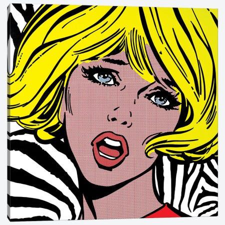 Girl On Zebra Background Canvas Print #TSA4} by Toni Sanchez Canvas Art