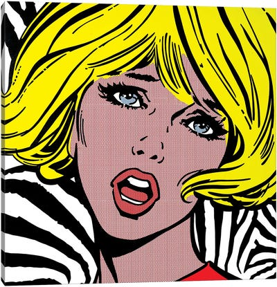 Girl On Zebra Background Canvas Art Print