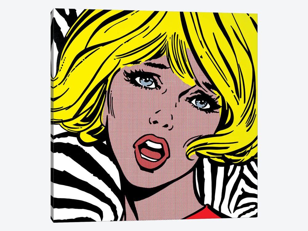 Girl On Zebra Background by Toni Sanchez 1-piece Art Print