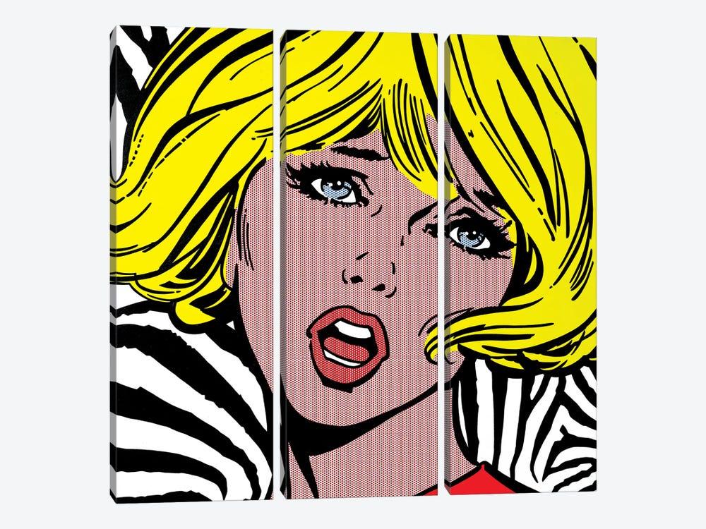 Girl On Zebra Background by Toni Sanchez 3-piece Canvas Print