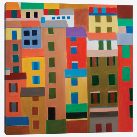Cinque Terre Houses 3-Piece Canvas #TSD18} by Toni Silber-Delerive Canvas Art Print