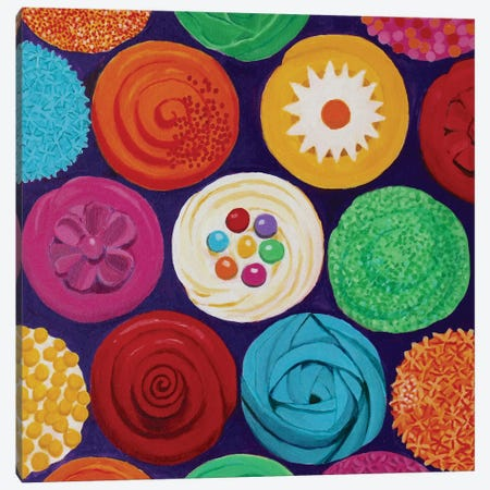 Colorful Cupcakes Canvas Print #TSD22} by Toni Silber-Delerive Canvas Wall Art