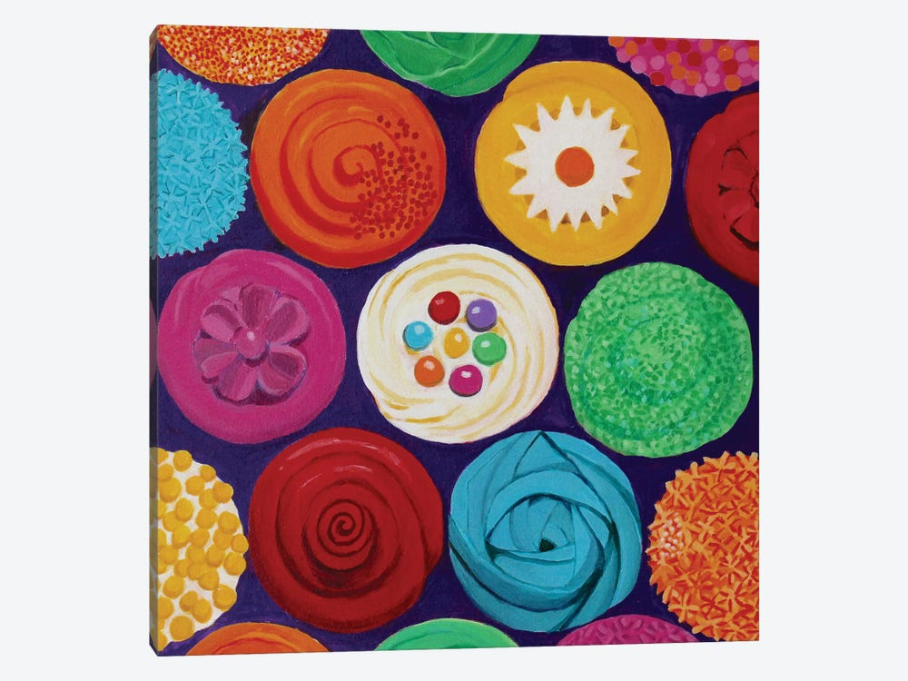 Colorful Cupcakes by Toni Silber-Delerive 1-piece Canvas Print