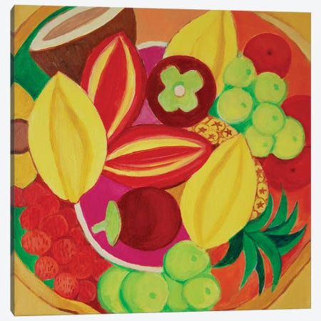 Exotic Fruit Bowl Canvas Print #TSD30} by Toni Silber-Delerive Canvas Art Print