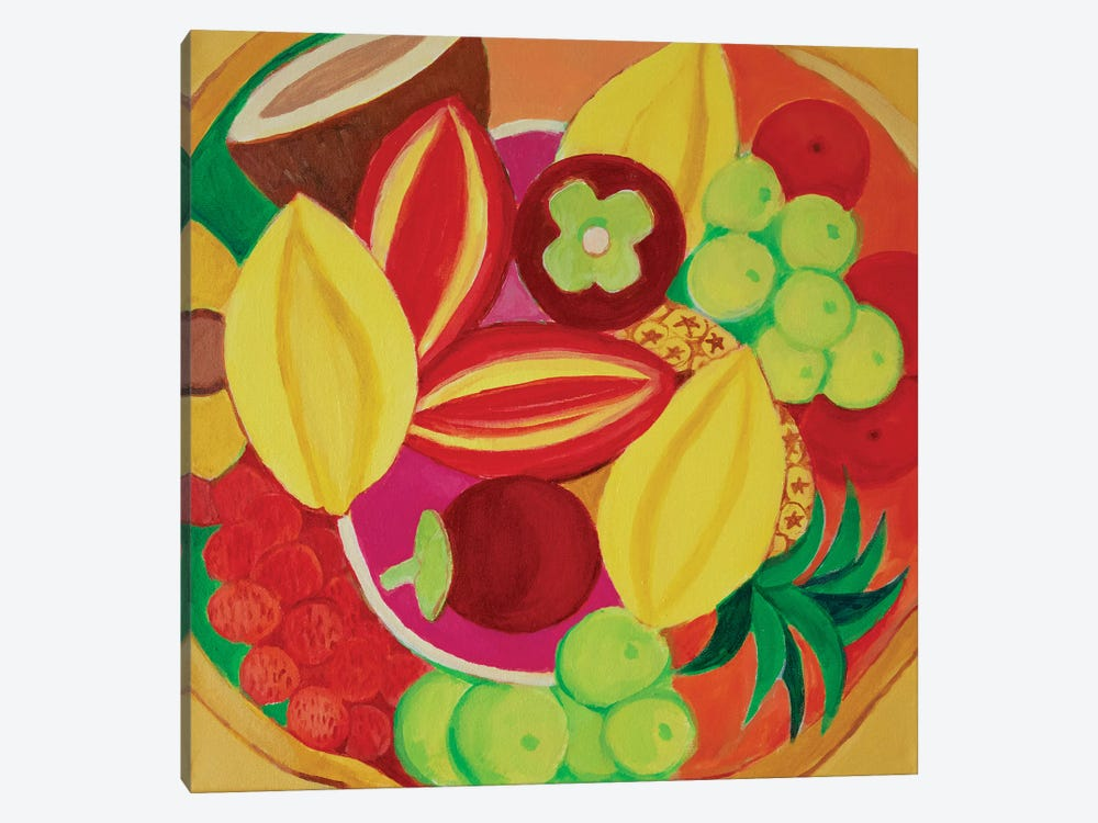 Exotic Fruit Bowl by Toni Silber-Delerive 1-piece Canvas Wall Art