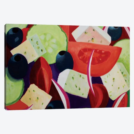 Greek Salad Canvas Print #TSD35} by Toni Silber-Delerive Canvas Art