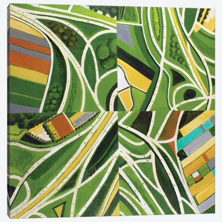Green Intersections Canvas Print #TSD36} by Toni Silber-Delerive Canvas Art