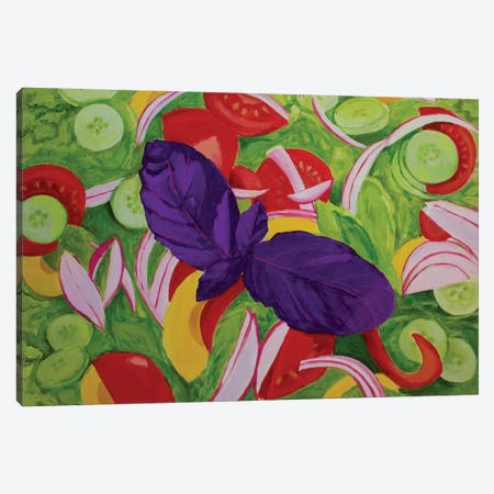 Green Salad Canvas Print #TSD37} by Toni Silber-Delerive Canvas Artwork