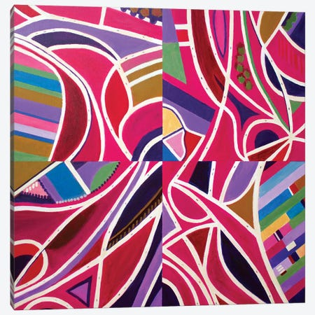 Magenta Intersections, Quartered Canvas Print #TSD45} by Toni Silber-Delerive Art Print