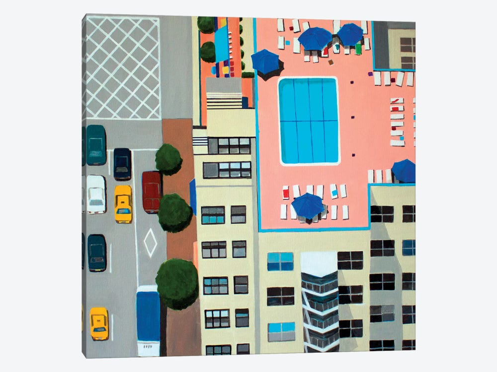 NYC Roof Pool by Toni Silber-Delerive 1-piece Canvas Artwork