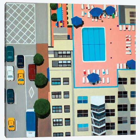 NYC Roof Pool Canvas Print #TSD50} by Toni Silber-Delerive Art Print