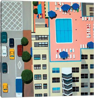 NYC Roof Pool Canvas Art Print