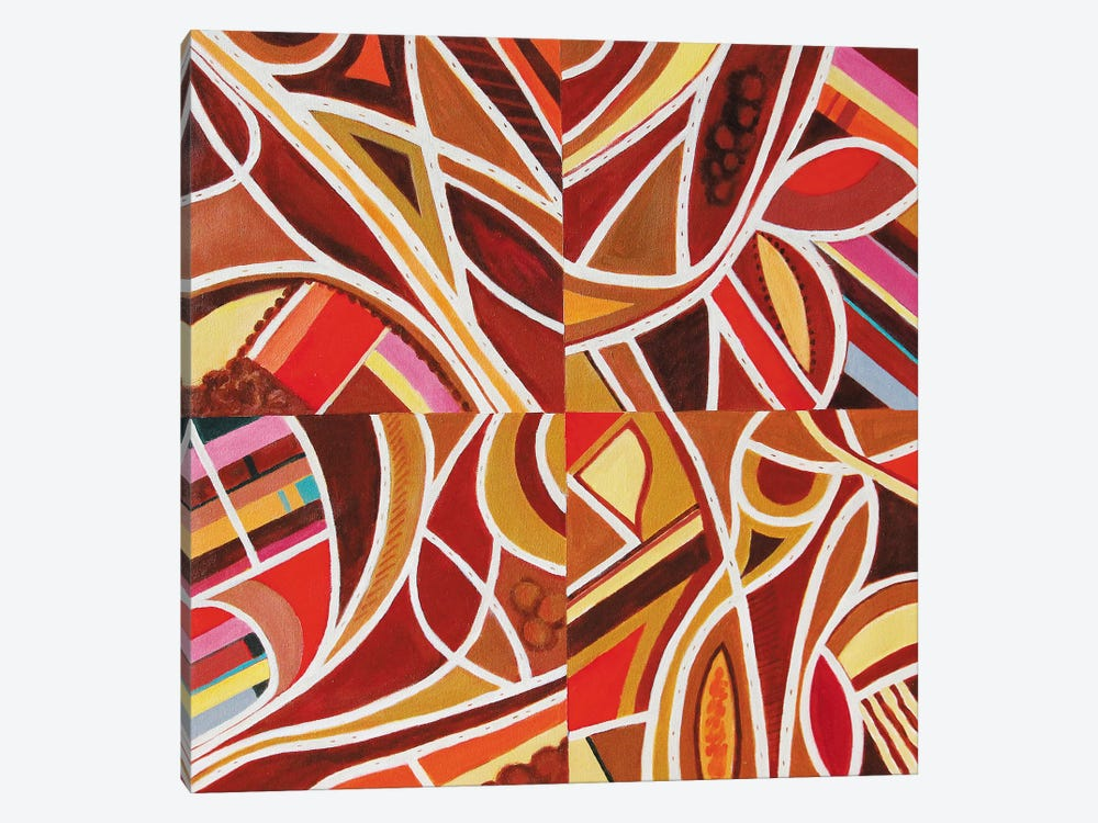 Brown Intersections by Toni Silber-Delerive 1-piece Canvas Art