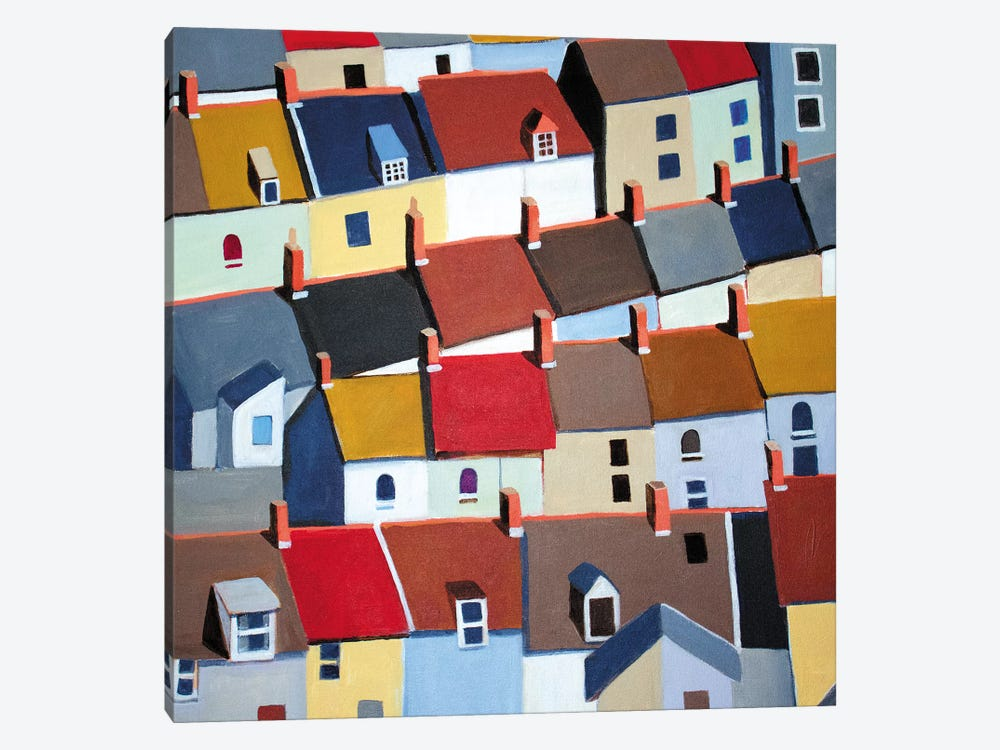 London Terraced Buildings by Toni Silber-Delerive 1-piece Canvas Print