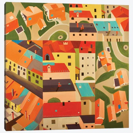 Neighborhood Montage 3-Piece Canvas #TSD90} by Toni Silber-Delerive Art Print
