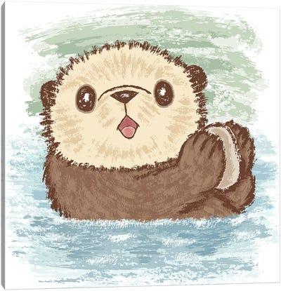 Sea Otter And Food Canvas Art Print