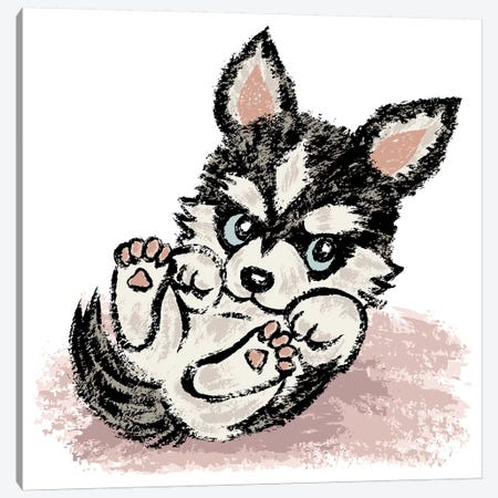 Siberian Husky Lying Canvas Print #TSG122} by Toru Sanogawa Canvas Artwork
