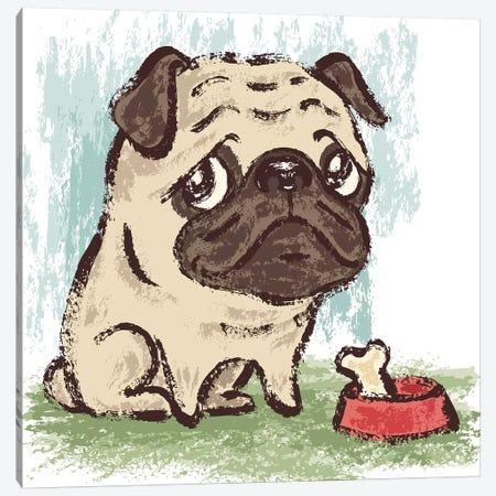 Sitting Pug Puppy Canvas Print #TSG125} by Toru Sanogawa Canvas Print