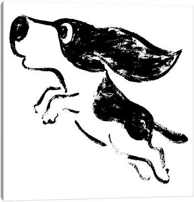 Sketch Of Dog Jump Canvas Art Print