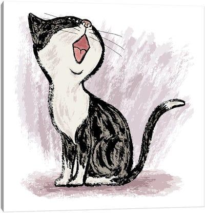 Black Cat Looking Up Canvas Art Print