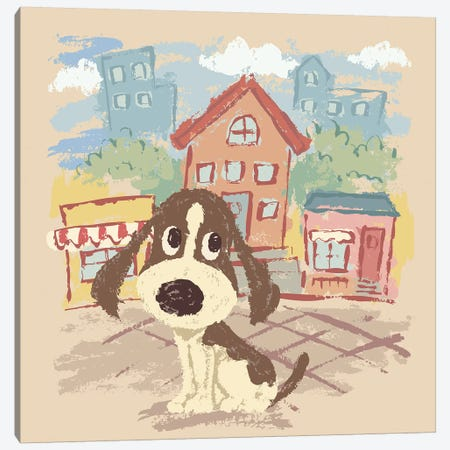 Sketch Of Hound On The Street Canvas Print #TSG132} by Toru Sanogawa Art Print