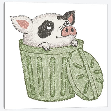 Spotted Pig In A Bucket Canvas Print #TSG136} by Toru Sanogawa Canvas Art
