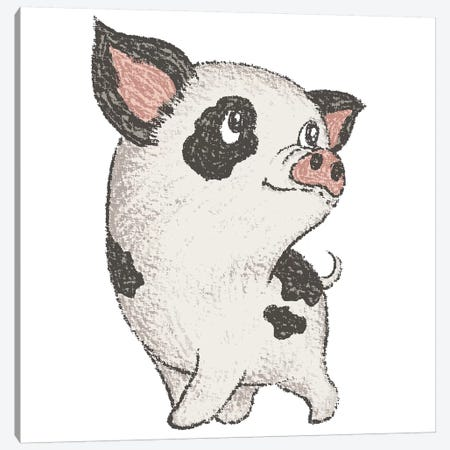 Spotted Pig Walking Canvas Print #TSG137} by Toru Sanogawa Canvas Art