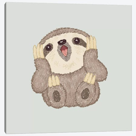 Surprised Sloth Canvas Print #TSG139} by Toru Sanogawa Canvas Art Print