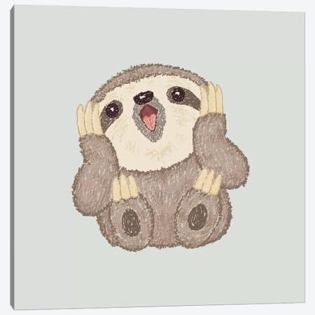 Surprised Sloth Canvas Print #TSG139} by Toru Sanogawa Canvas Art Print