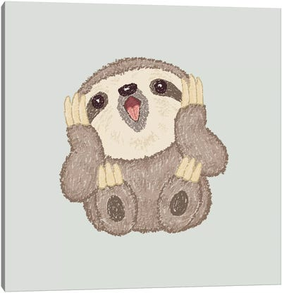 Surprised Sloth Canvas Art Print
