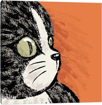 Black Cat Profile Canvas Art Print
