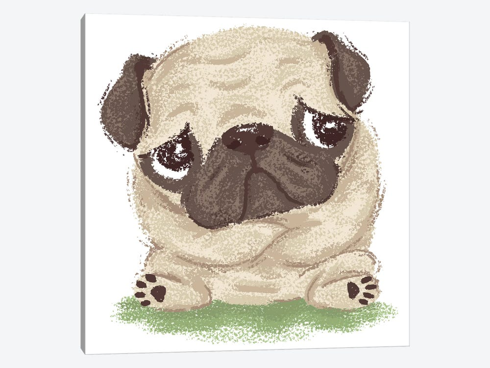 Thoughtful Pug 1-piece Canvas Art Print