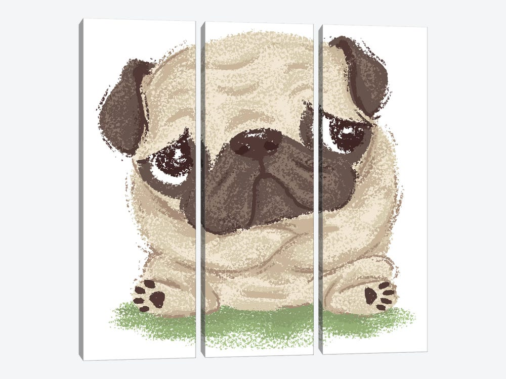 Thoughtful Pug 3-piece Canvas Print