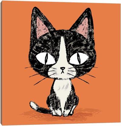 Black Cat Sitting Canvas Art Print