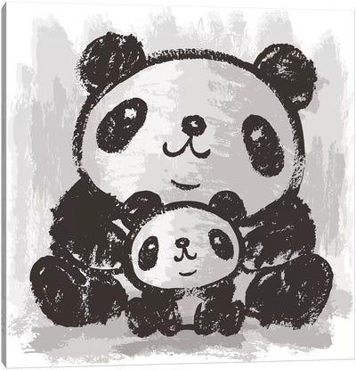 Two Pandas Are Sitting Canvas Art Print