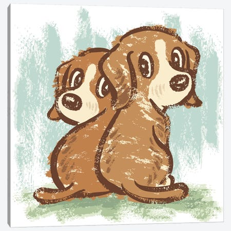 Two Puppies That Are Turning Around 3-Piece Canvas #TSG153} by Toru Sanogawa Art Print