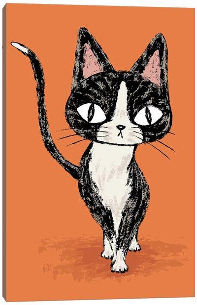 Black Cat Walking Canvas Art Print