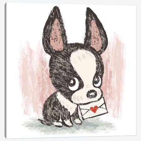 Boston Terrier And Letter Canvas Print #TSG19} by Toru Sanogawa Canvas Art