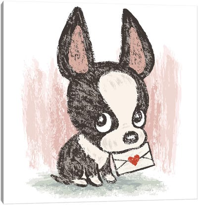 Boston Terrier And Letter Canvas Art Print