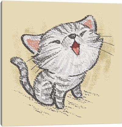 American Short Hair Kitten In A Good Mood Canvas Art Print