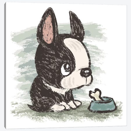 Boston Terrier And Meal Canvas Print #TSG20} by Toru Sanogawa Canvas Print