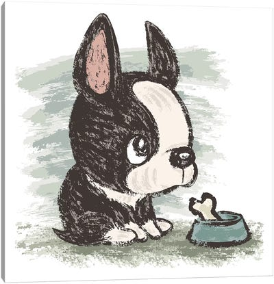 Boston Terrier And Meal Canvas Art Print