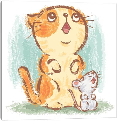 Cat And Mouse Looking Up Canvas Art Print