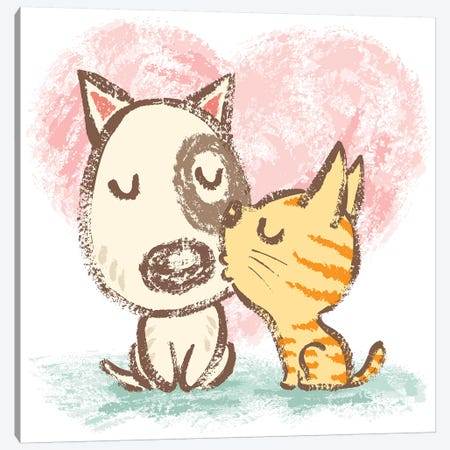 Cat Is Kissing Dog Canvas Print #TSG25} by Toru Sanogawa Canvas Wall Art