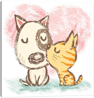 Cat Is Kissing Dog Canvas Art Print